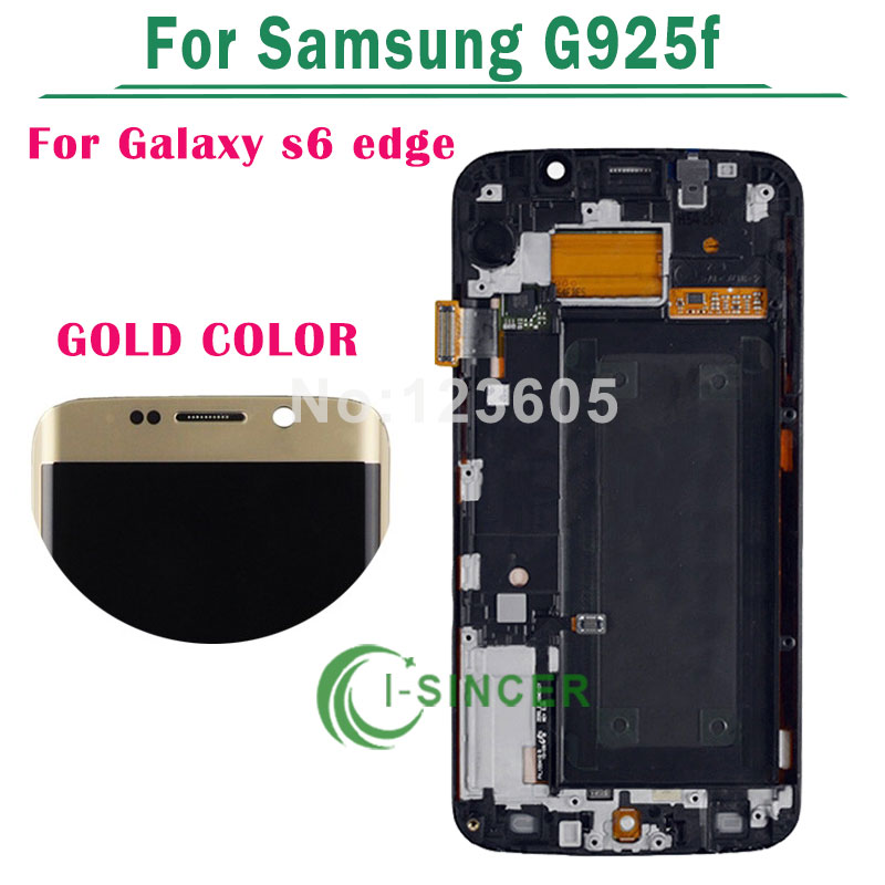 5.1 Gold LCD Display Touch Screen Digitizer With Frame For Samsung for Galaxy S6 Edge G925F Free Shipping