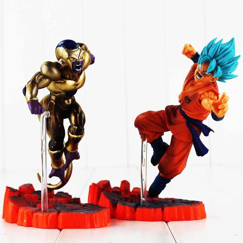 Dragon Ball Z Resurrection F Golden Frieza Freeza  VS Goku Action Figure 15cm Model Toy PVC Anime Doll 16cm anime dragon ball z goku action figure son gokou shfiguarts super saiyan god resurrection f model doll