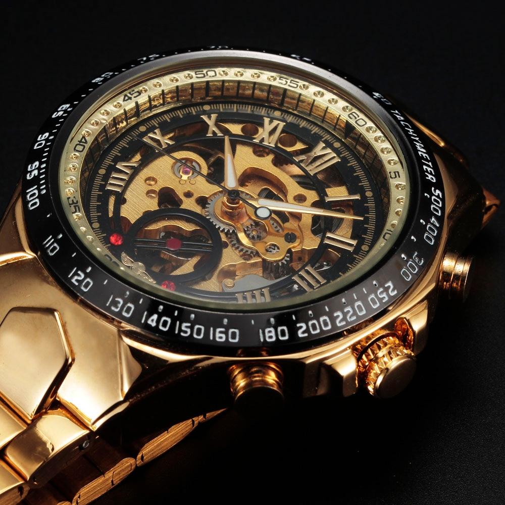 sport design bezel golden mens watches montre homme men automatic skeleton watch ebay. Black Bedroom Furniture Sets. Home Design Ideas