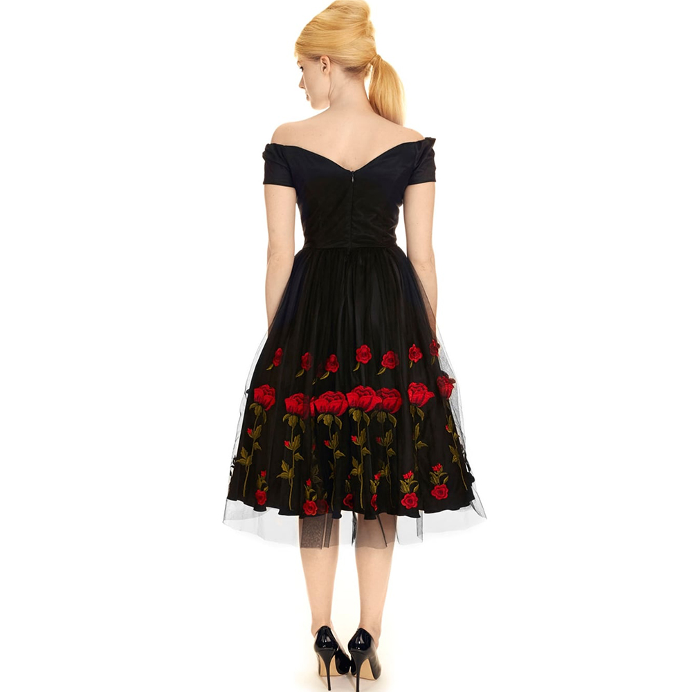 3052a1bac22 ... Dower Me Vintage 50s Elegant Organza Party Dress Short Sleeve Appliques  Black Vestidos Midi Evening Party ...