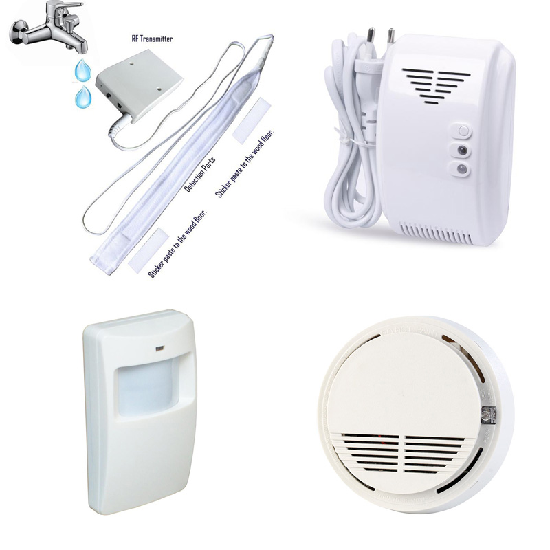Water Leak Detector Wireless Gas Leakage Detector Smoke Alarm PIR Motion Sensor 433MHz Home Smart Alarm System WL-100/SM-100 wireless vibration break breakage glass sensor detector 433mhz for alarm system