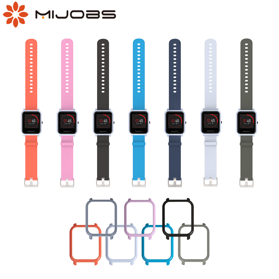 Mijobs 20mm Wrist Strap Hard Plastic PC Shell Protective Case Cover for Huami Amazfit Bip BIT PACE Lite SmartWatch Amazfit Strap mijobs 20mm silicone wrist strap protective case cover plastic pc shell for huami xiaomi amazfit bip bit pace lite smart watch