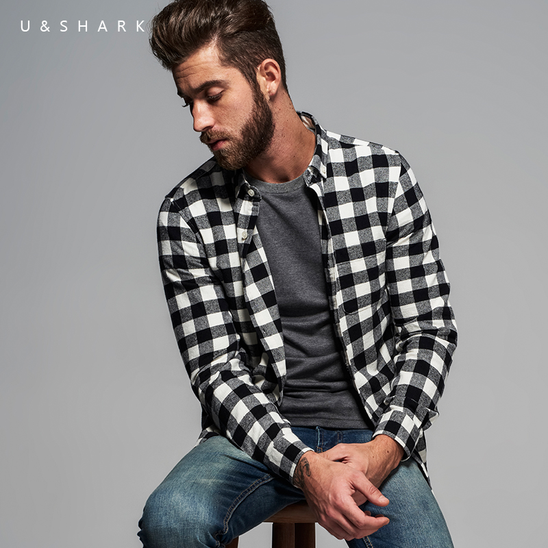 95db0a63a7 U Shark British Style Long Sleeve Casual Black Plaid Shirt Brand Men Blouse 2016  Autumn Fashion Flannel Check Shirt Male Chemise-in Casual Shirts from Men s  ...