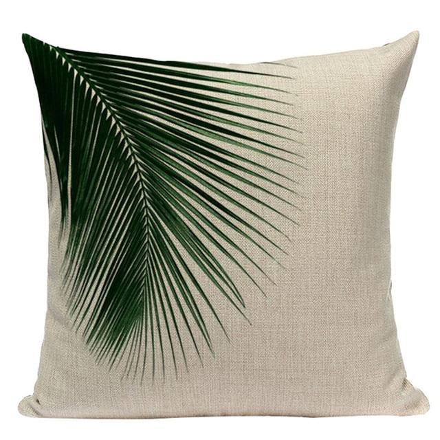 Decorativo federa verde foglia foglie di forma quadrata pianta cuscino per divan