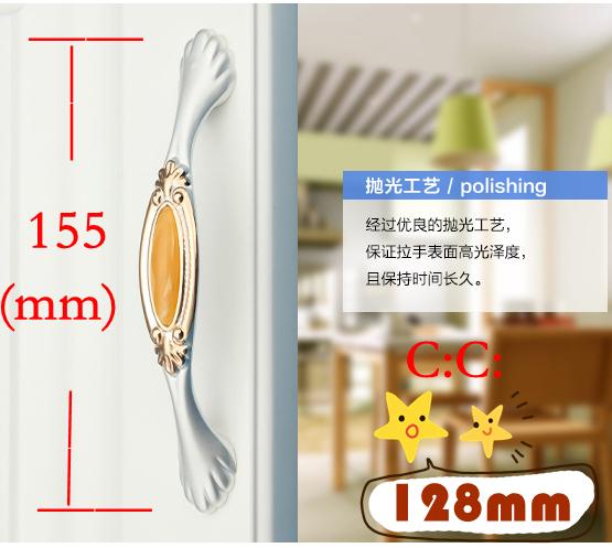 """C: C: 128mm 5.04 """"de Comprimento 155mm 6.10"""" Ágata amarelo luxo mobiliário alça de cristal gaveta lidar com"""