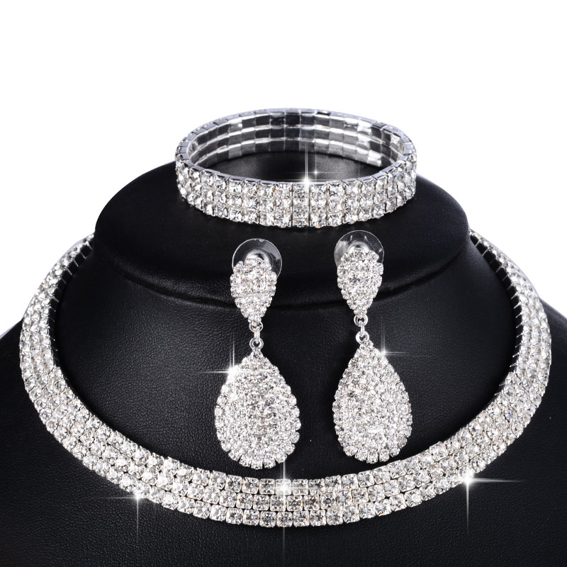 Bridal-Jewelry-Sets Bracelet Necklace Earrings Crystal Rhinestone Wedding Silver Women