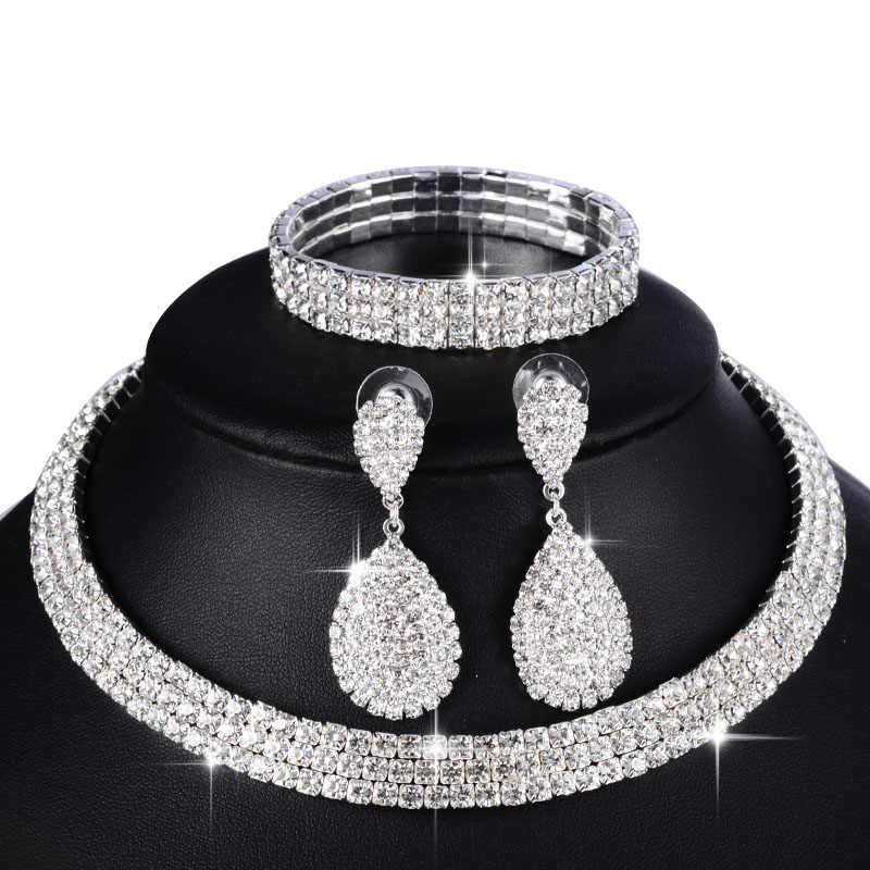 3 PCS /set Luxury Women Jewelry Set Wedding Crystal Bridal Jewelry Sets Classic Rhinestone Silver Necklace Earrings Bracelet