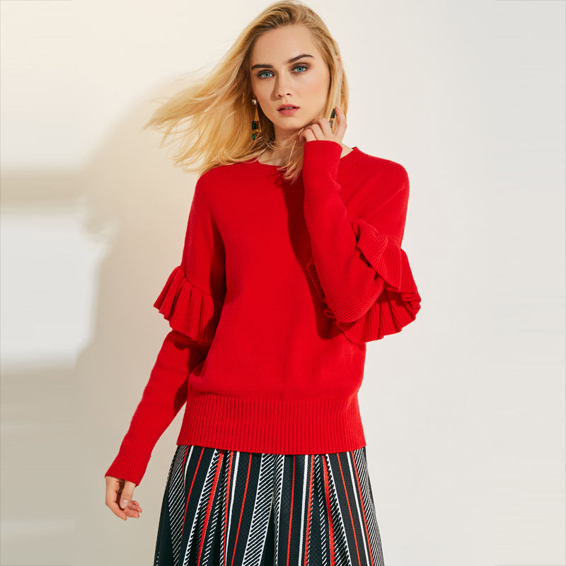 Young17 Autumn Sweater Women 2017 Red Plain Falbala Patchwork Casual Slim Knitted Knitwear Sweater Female Pullover