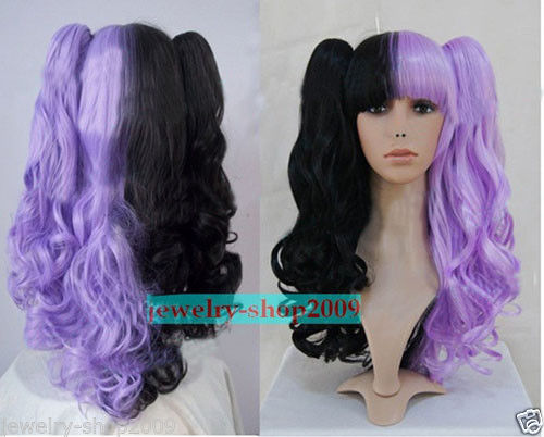 Cosplay Lolita Split Type Purple/Black Curly Heat Resistant Wig heat resistant synthetic short boy cut capless fluffy curly wig