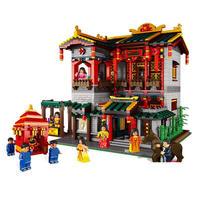 LegoINGlys city creaters Street view chinatown cinese night club moc строительные блоки модель мини продавец фигурки кирпичики игрушки подарок
