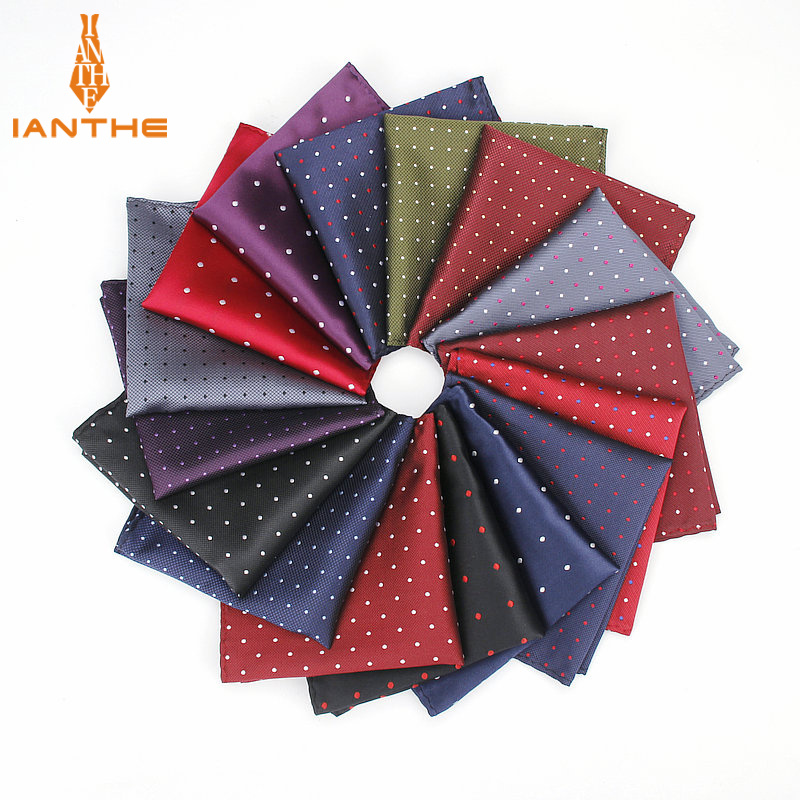 Men's Classic Pocket Square Dot Pattern Handkerchief Fashion Hanky For Men Business Suits Hankies Vintage Towel Accessories Navy