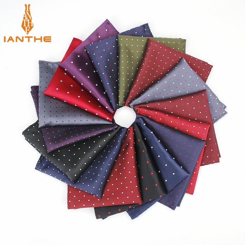 Men's Classic Pocket Square Dot Pattern Handkerchief Fashion Hanky For Men Business Suits Hankies Vintage Towel Accessories Navy