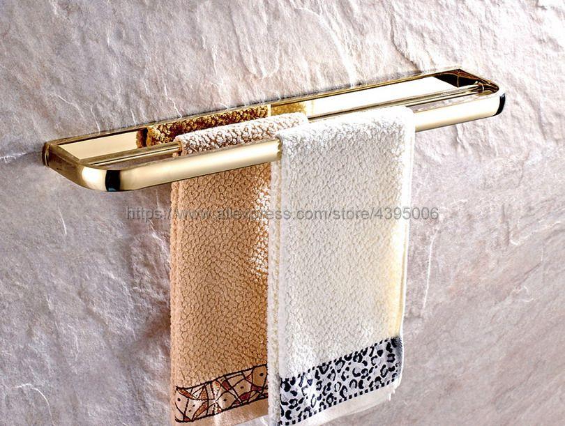 Luxury Gold Color Brass Wall mounted Double Towel Bar Holder Bathroom Towel Rack Bar Bathroom Accessories