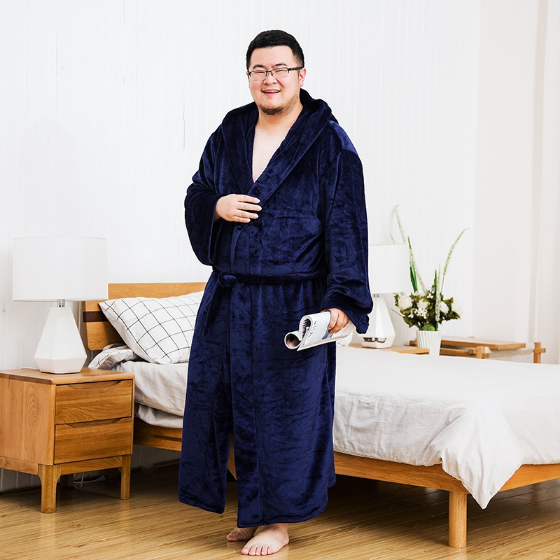 Extra Large Size Flannel Men Winter Bathrobes For Fat People Warm Coral Fleece Long Hooded Male Robes Home Thick Bath Robe(China)