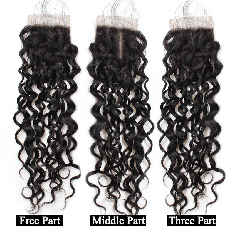 Ishow Hair Water Wave Bundles Indian Hair Weave 4 Bundles With Closure More Wavy Non Remy Human Hair With Lace Closure