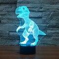 Mais novo animal dinossauro dos desenhos animados 3D colorido luz da noite levou 7 cores auto Mudança Ilusão 3D quarto lâmpada usb do sono do bebê luz