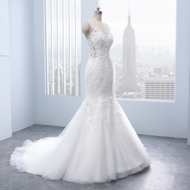Elegant V-neck Backless Appliques Lace Pearls Mermaid Wedding Dresses real White Bridal Gown brautkleid