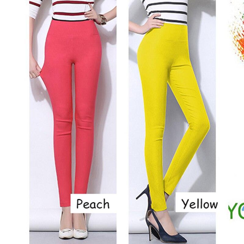 Cintura alta mujeres pantalones lápiz 2019 Color del caramelo - Ropa de mujer - foto 2