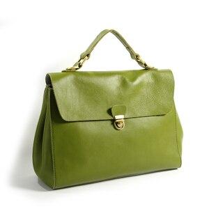 Damskie torebki na ramię 2018 Vintage Lady torebki skórzane duże torby na ramię Casual oryginalna skórzana teczka duża Messenger zielona