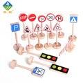 Brinquedo De Madeira brinquedo Woo Acessórios Da Pista de Sinais de Alerta Logo Brinquedos Models & Construção de Sinais de Trânsito Para 3 ~ 6 Anos de idade As Crianças