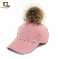 NEW Large Faux Fur Pom Pom Baseball Cap Snapback Adjustable Leather Hat