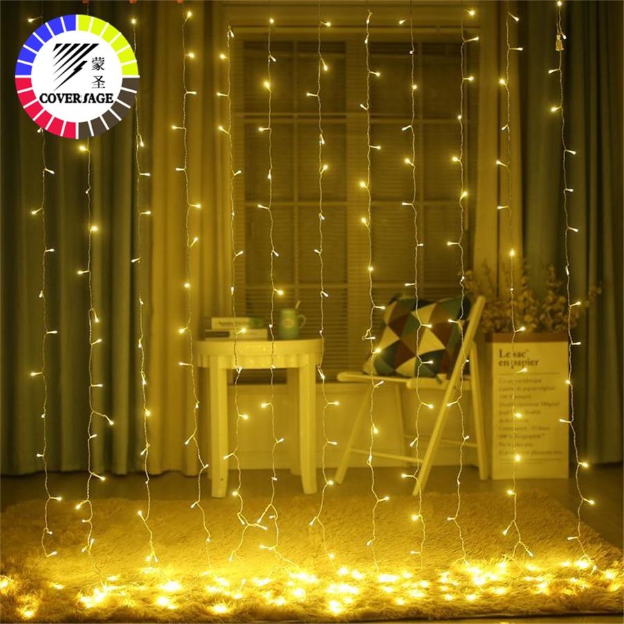 Coversage Fairy Light 6X3M Curtain Lights Christmas Garlands LED String Christmas Net Light Fairy Xmas Wedding Decoration цена