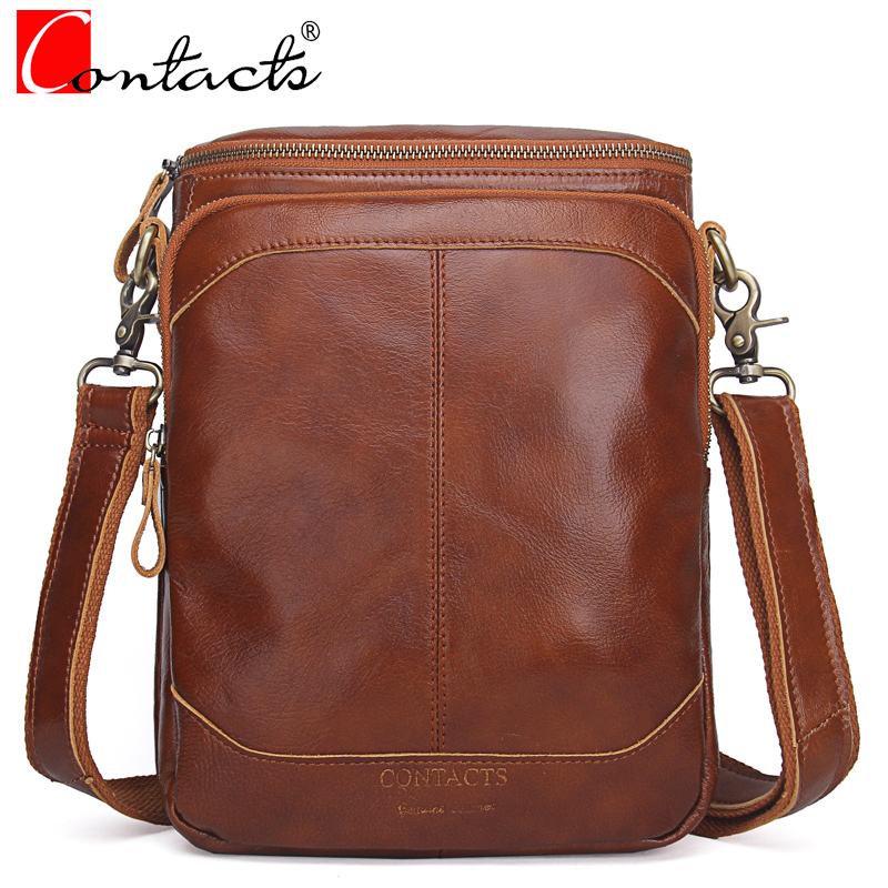 CONTACT'S Genuine Leather Soft Men Bags High Quality Vintage Versatile Shoulder Bag Male Crossbody bags Zipper Brown Ipad Pocket