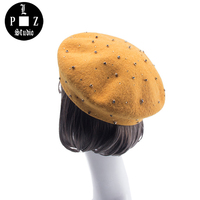 PLZ Women Beret Hats With Rhinestones Winter Warm Wool Hat One Size Painter Cap Street Casual