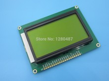Free shipping ! 5pcs/lot 128*64 DOTS LCD module 5V Yellow and green screen 12864 LCD with backlight ST7920 Parallel port