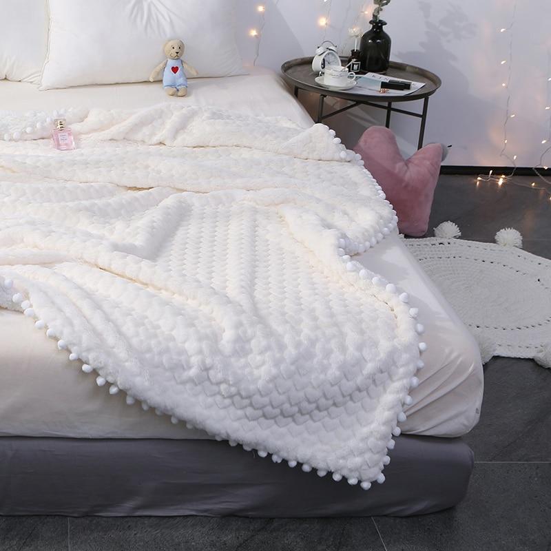 Couverture douce blanche/rose/grise pour déesse fille Imitation fourrure de lapin et agneau couverture en cachemire Double couverture épaisse en molleton de corail