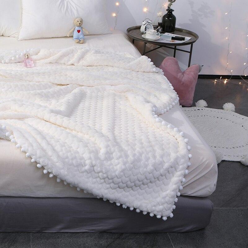 Weiche Weiß/rosa/grau Decke für Göttin Mädchen Nachahmung Kaninchen Pelz und Lamm Kaschmir Decke Doppel Dicken Korallen fleece Decke-in Decken aus Heim und Garten bei  Gruppe 1