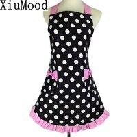 XiuMood New Fashion Bib 100 Cotton Apron Dress Flirty Vintage Kitchen Women Dots With Bow Pocket