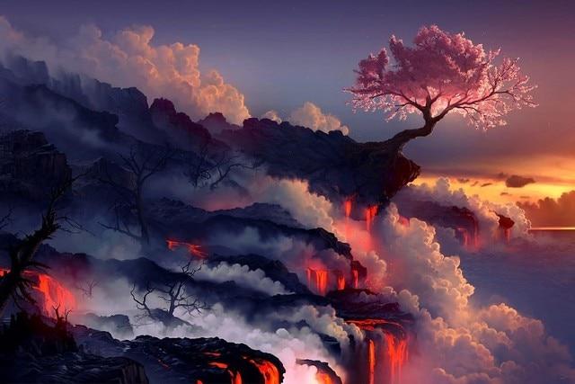 landscapes cherry blossoms trees sea lava smoke rocks artwork