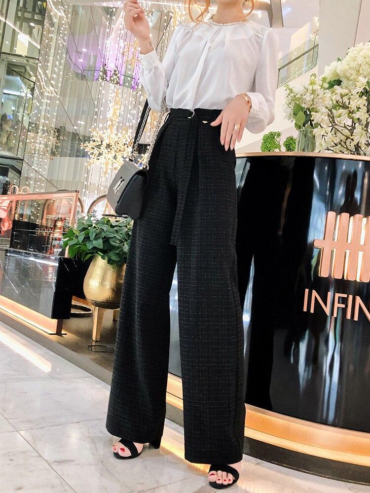 Lâche Femmes Nouveau Large 2019 Droite Pantalon Suspendus Noir Banderoles Jambe Taille Plaid Haute 5qO7p