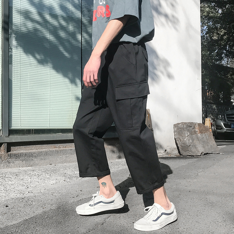 2018 Summer Korean Style Mens Fashion Pocket Elastic Waist Vintage Casual Cargo Pants Loose Green Trousers M-2XL Free shipping