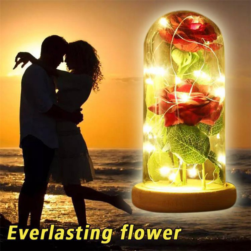 Artificial Rose Beauty Beast Red Rose in a Glass Dome on a Wooden Base for Valentine's Gifts LED Mother's Day Rose Party Lamps