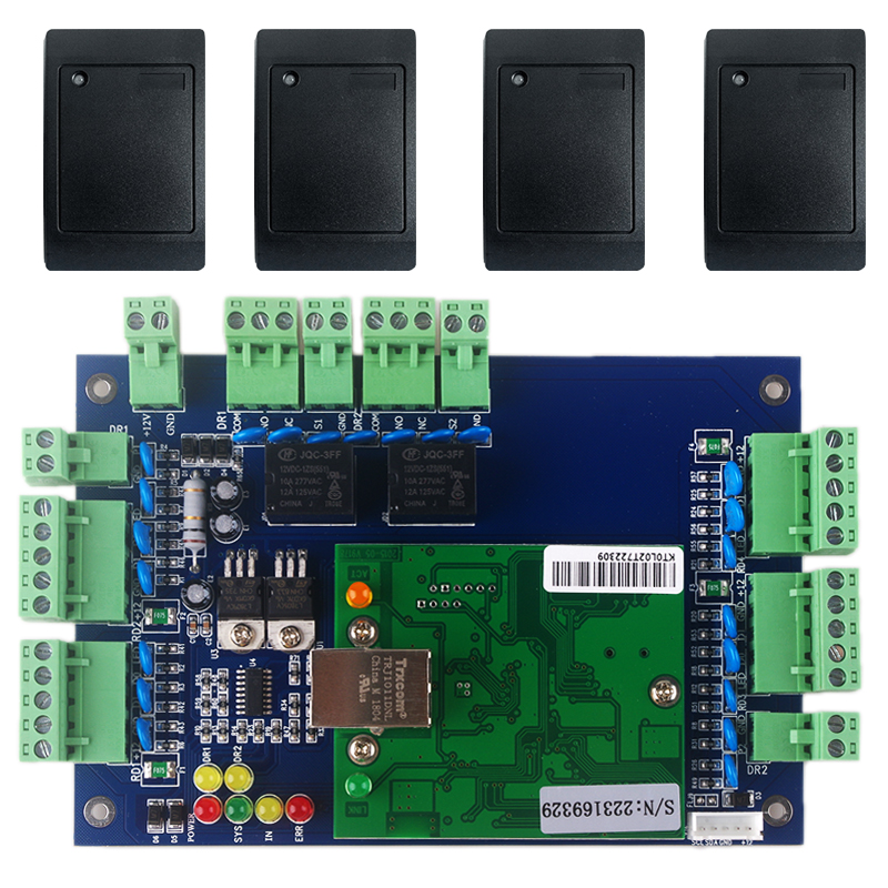TCP IP Multi Door Entrance Access Control Board Outdoors Applied RFID Reader 2 Doors Access Control System
