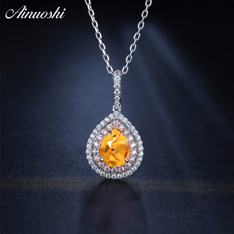 AINUOSHI Natural Citrine Heart Pendant 925 Sterling Silver Chain 1.5ct Cushion Cut Gem Pink Halo Pendant Necklace Women Jewelry