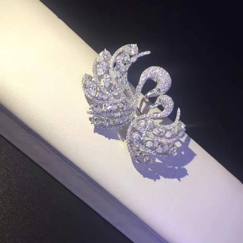 925 sterling silver with cubic zircon double swans brooch pins fashion women jewelry free shipping high quality