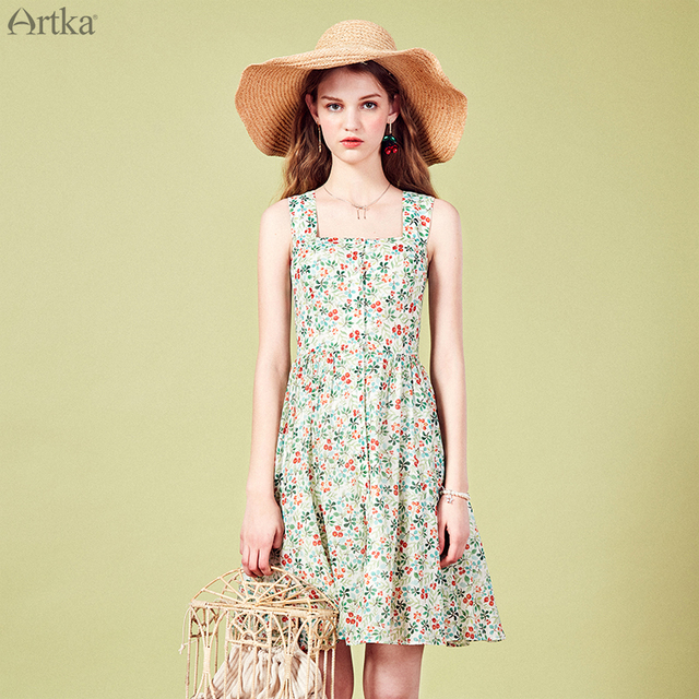 ba29fb8a60 ARTKA 2019 verano vestidos de las mujeres Vintage Floral vestido sin mangas  de cuello cuadrado de impresión vestido para las mujeres vestido de espalda  ...