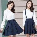 Xl ~ 5XL весна осень женщины одежда XXXXXL элегантный со складками ткань в полоску юбка ползунки комбинезон общая приталенный юбки