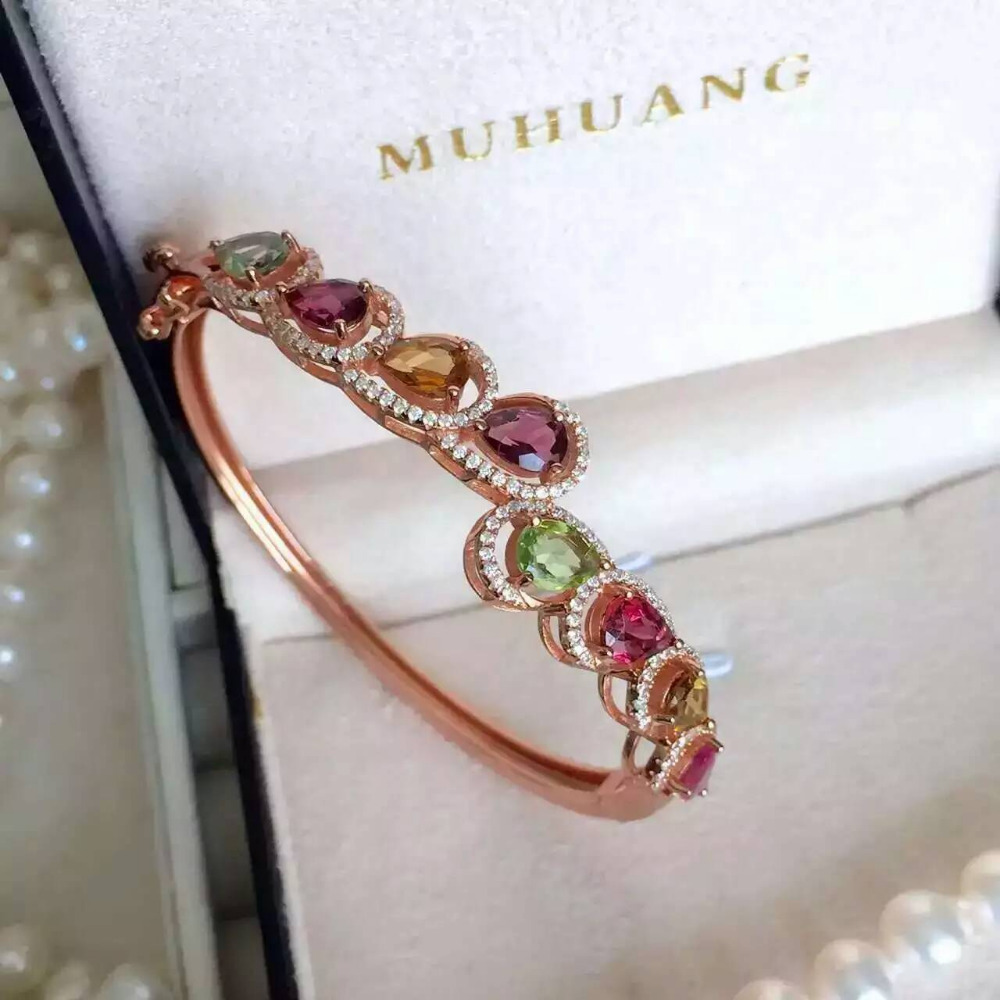 Luxurious across Water drop natural Multicolor tourmaline bangles natural gemstone Bracelet S925 silver woman party jewelery natural multicolor tourmaline gem bracelet natural gemstone bracelet s925 silver fashion square pincushion women party jewelry