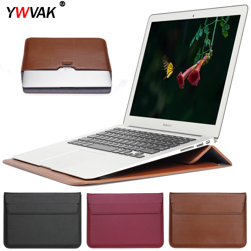 PU <font><b>Leather</b></font> Mail sack <font><b>Sleeve</b></font> Bag Case Stand For Macbook Air Pro Retina 11 12 <font><b>13</b></font> 15 Notebook <font><b>Laptop</b></font> Cover For Mac book <font><b>13</b></font>.3 <font><b>inch</b></font> image