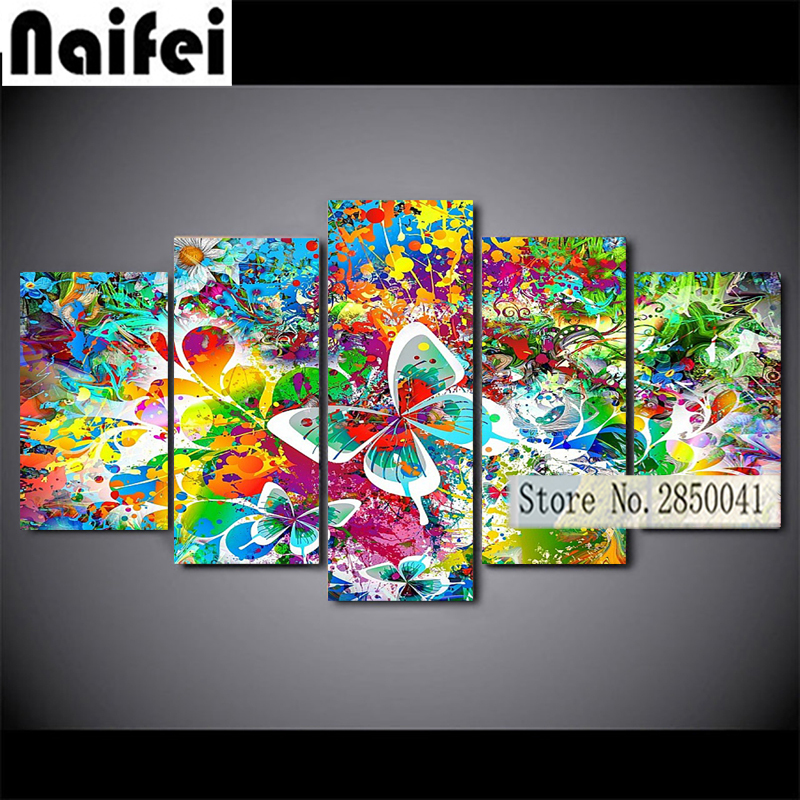 5pcs Diamond Painting 3D flower butterfly colorful abstraction Full Diamond Embroidery 5D DIY Cross Stitch Diamond