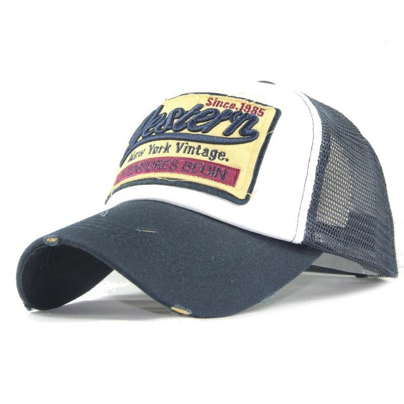 30bcd14a486bb Western Embroidery Baseball Cap Men Mesh Trucker Hat Dad Hat Snapback  Summer Hip Hop Caps Casual Women Visor Sun Hats Adjustable-in Baseball Caps  from ...