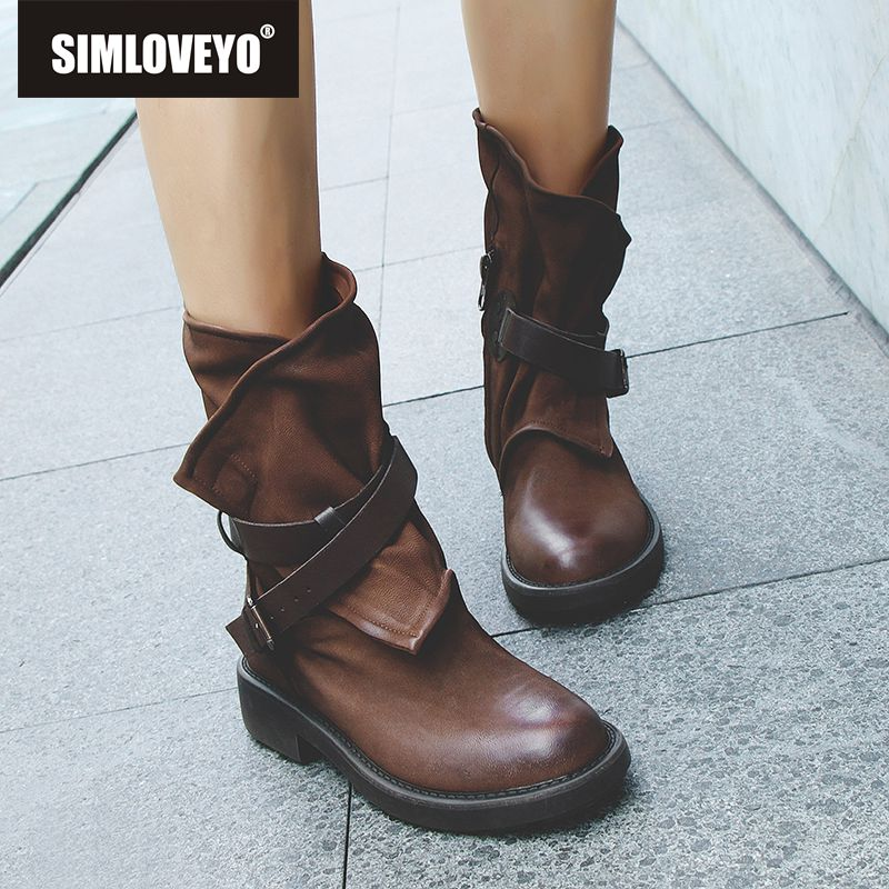 SIMLOVEYO Fashion Women Casual Basic Boots Genuine Leather Autumn Winter Warm Shoes Top Quality Round Toe Punk Retro Cowboy boot in Mid Calf Boots from Shoes