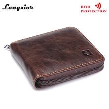 MRF9 модный мужской кошелек на молнии RFID Блокировка ID кредитный держатель для карт Топ Зерно натуральная коровья кожа мужской кошелек с карманом