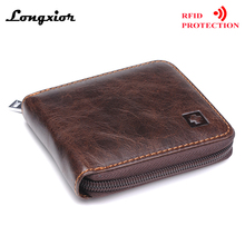 MRF9 New Fashion Men Wallet With Zipper RFID Blocking ID Credit Card Holder 100% Top Grain Genuine Cow Leather Men Purse Pocket