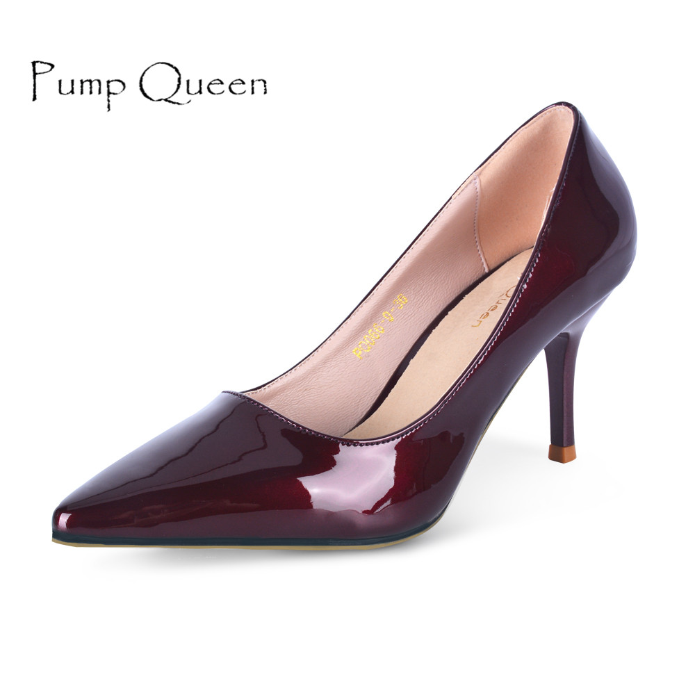 2018 Spring Shoes Woman Patent Leather High Heels Wine Red Women Pumps Ladies Shoes Pig Leather Inner zapatos mujer Plus Size 40 2016 real colorful women pumps custom made plus us4 us15 high heels peep toe slip on zapatos mujer patent leather ladies shoes
