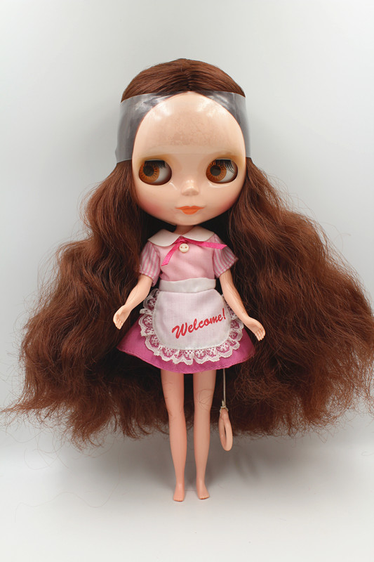 Special offer,Blyth doll Brown hair nude doll 7 joint body general body fashion doll DIY doll.